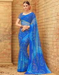 Blue Color Wrinkle Chiffon Bandhej Print Sarees : Rangilo Collection YF-68688