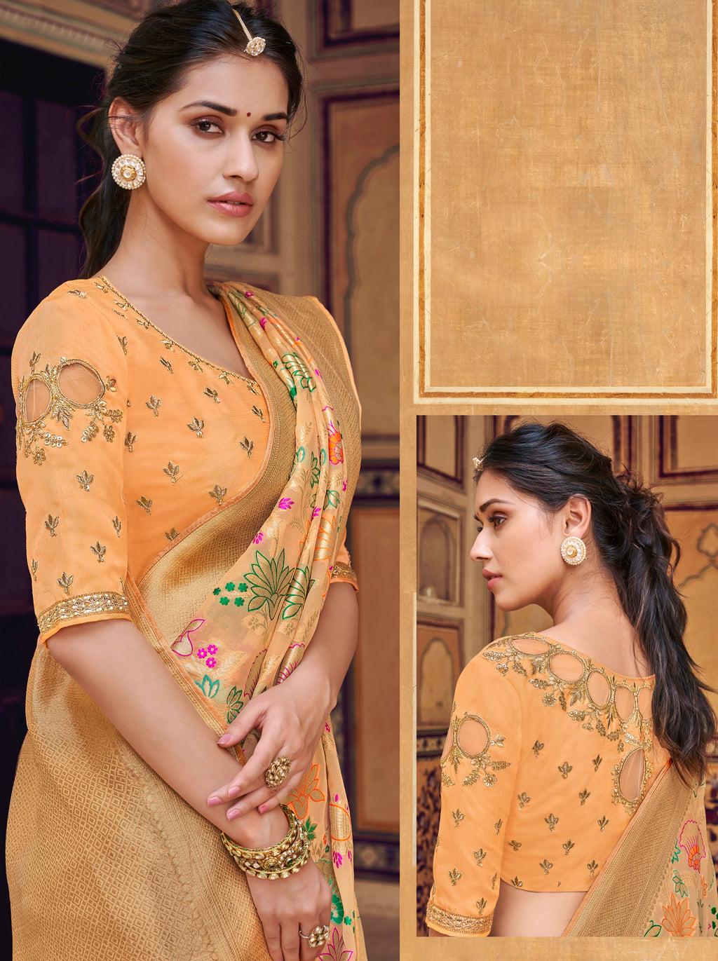 Peach Color Banarasi Silk Designer Wedding Wear Sarees NYF-8009