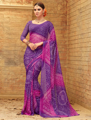 Purple & Pink Color Wrinkle Chiffon Bandhej Print Sarees : Rangilo Collection YF-68690