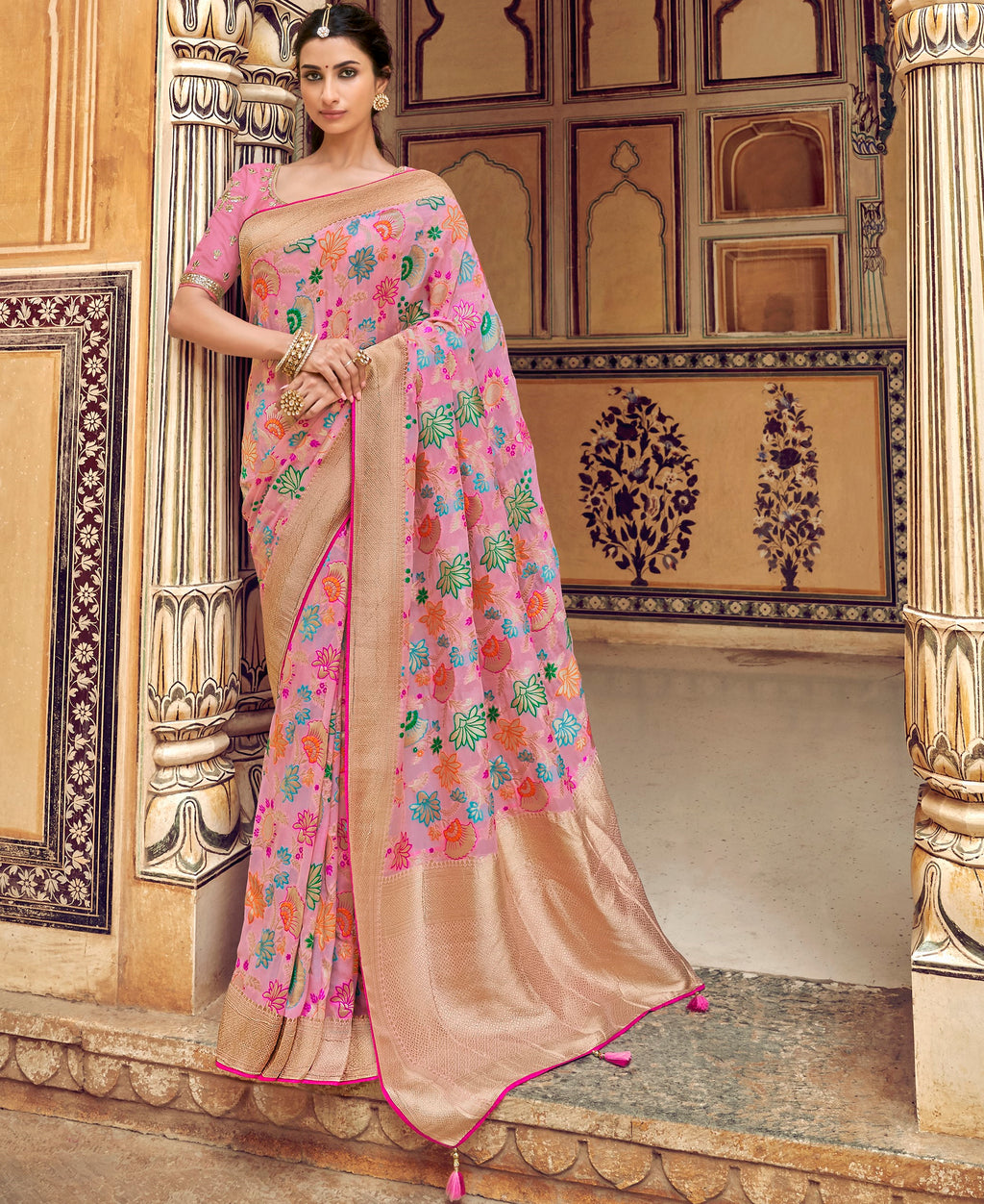Pink Color Banarasi Silk Designer Wedding Wear Sarees NYF-8010