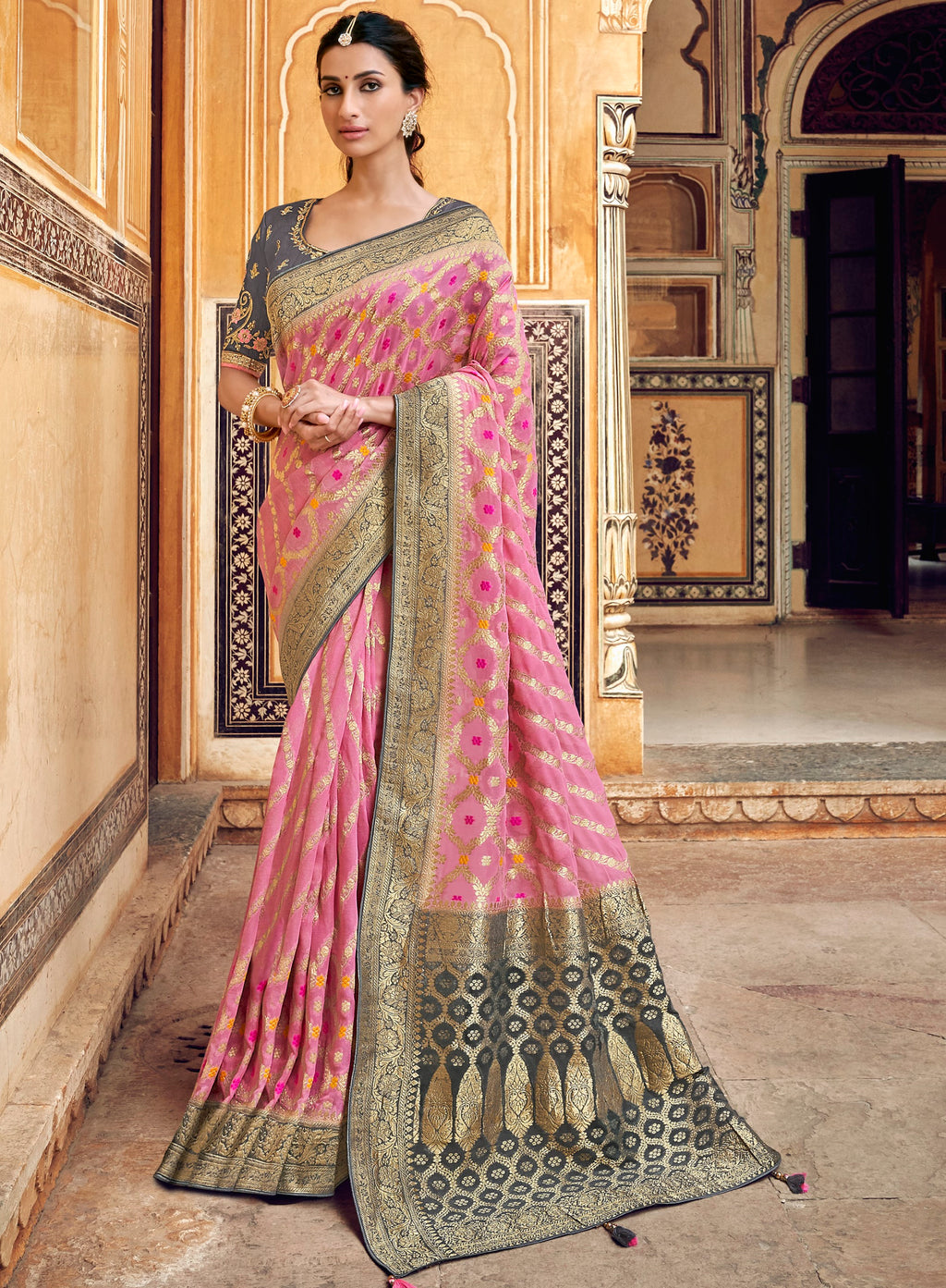 Pink Color Banarasi Silk Designer Wedding Wear Sarees NYF-8011