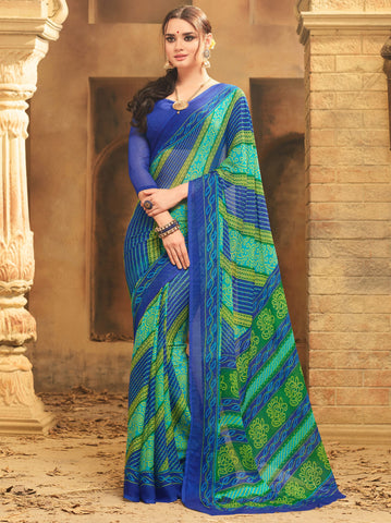 Green & Blue Color Wrinkle Chiffon Bandhej Print Sarees : Rangilo Collection YF-68697