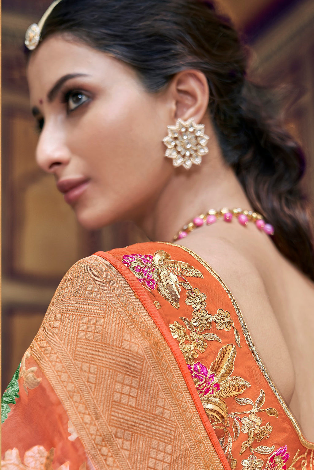Orange Color Banarasi Silk Designer Wedding Wear Sarees NYF-8012