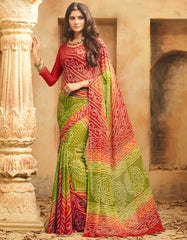 Mehendi Green & Red Color Wrinkle Chiffon Bandhej Print Sarees : Rangilo Collection YF-68700