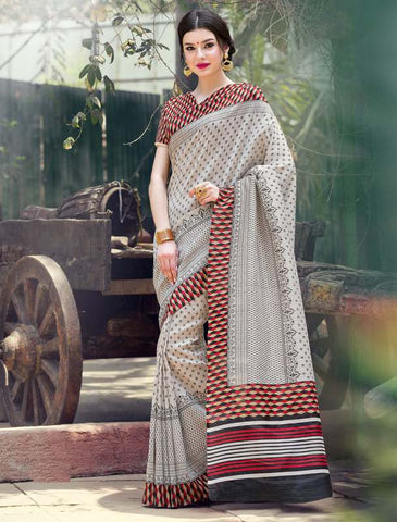 Cream Color Bhagalpuri Casual Party Sarees : Nitima Collection  YF-41759