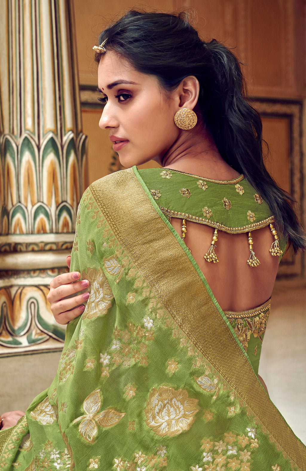 Green Color Banarasi Silk Designer Wedding Wear Sarees NYF-8013