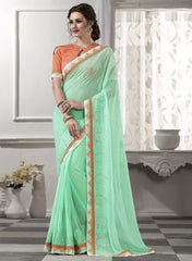 Aqua Green Color Georgette Festival & Party Wear Sarees : Viharika Collection  YF-51833