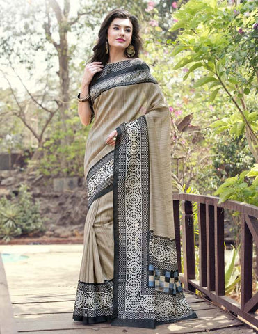 Beige & Black Color Bhagalpuri Casual Party Sarees : Nitima Collection  YF-41760