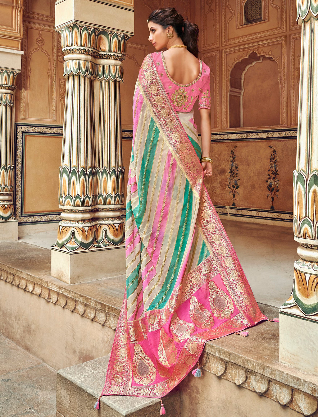 Cream & Pink Color Banarasi Silk Designer Wedding Wear Sarees NYF-8014