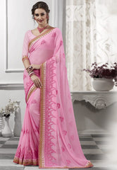 Pink Color Georgette Festival & Party Wear Sarees : Viharika Collection  YF-51834