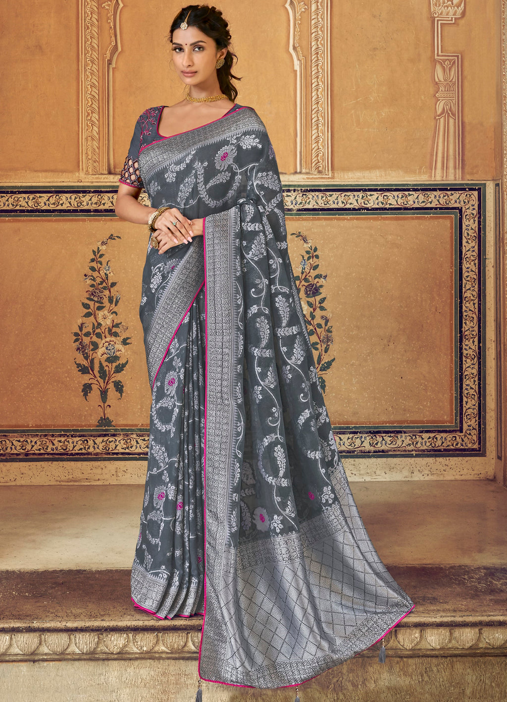 Grey Color Banarasi Silk Designer Wedding Wear Sarees NYF-8016