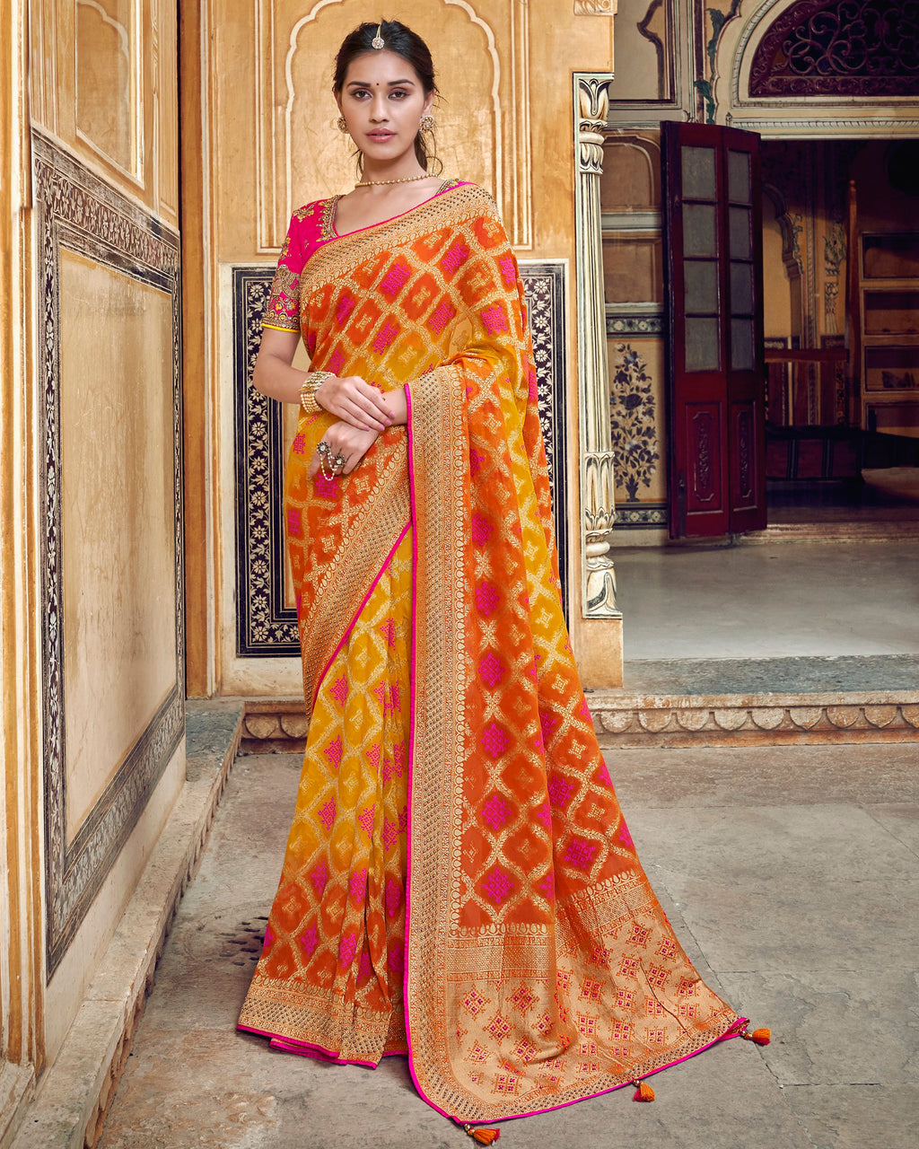 Yellow, Orange & Pink Color Banarasi Silk Designer Wedding Wear Sarees NYF-8018