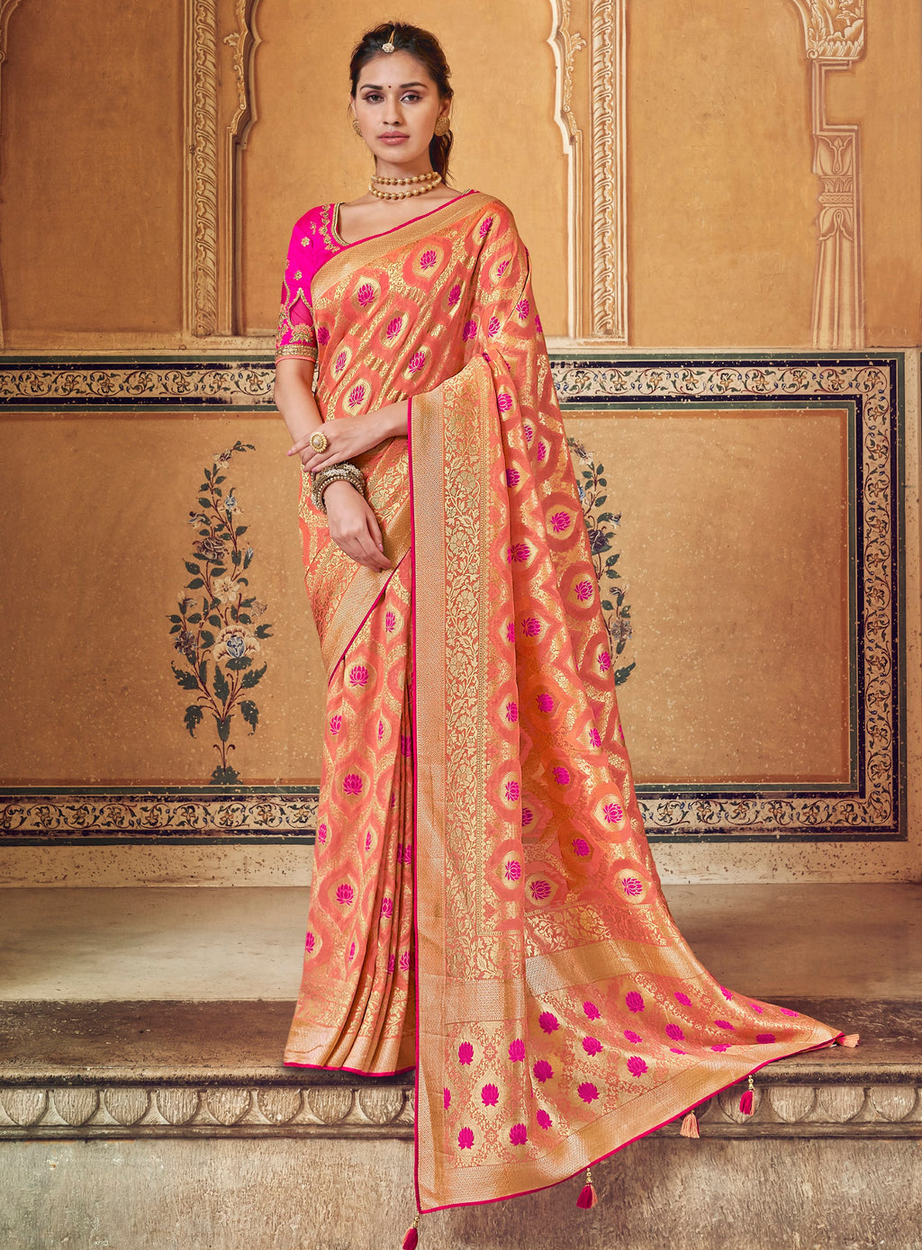 Peach & Pink Color Banarasi Silk Designer Wedding Wear Sarees NYF-8019