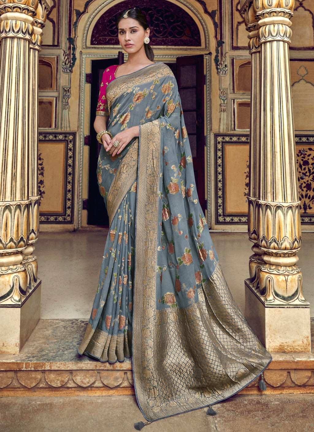 Grey Color Banarasi Silk Designer Wedding Wear Sarees NYF-8020