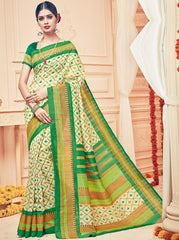 Cream & Green Color Bhagalpuri Casual Party Sarees : Prinat Collection  YF-51876