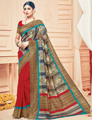Red & Brown Color Bhagalpuri Casual Party Sarees : Prinat Collection  YF-51879