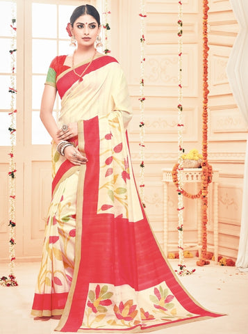 Cream Color Bhagalpuri Casual Party Sarees : Prinat Collection  YF-51880