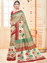 Light Brown & Red Color Bhagalpuri Casual Party Sarees : Prinat Collection  YF-51885