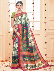 Multi Color Bhagalpuri Casual Party Sarees : Prinat Collection  YF-51886