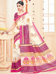 Off White& Pink Color Bhagalpuri Casual Party Sarees : Prinat Collection  YF-51888