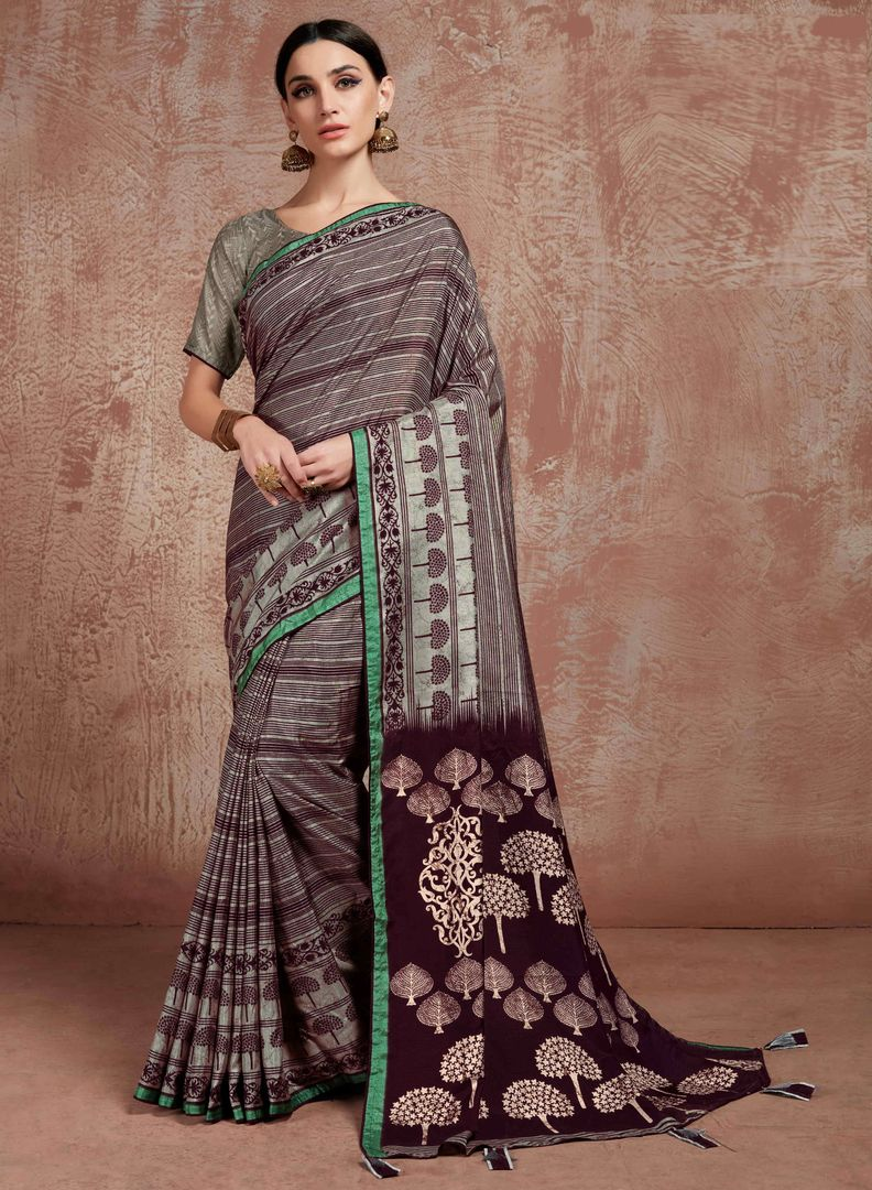 Brown Color Silk Office Wear Sarees NYF-3766 - YellowFashion.in