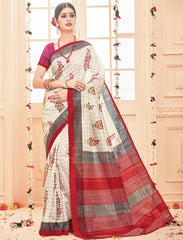 Light Grey & Red Color Bhagalpuri Casual Party Sarees : Prinat Collection  YF-51889