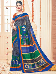 Grey & Blue Color Bhagalpuri Casual Party Sarees : Prinat Collection  YF-51890