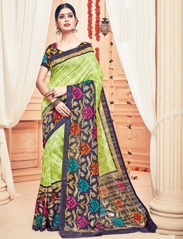 Green Color Bhagalpuri Casual Party Sarees : Prinat Collection  YF-51899