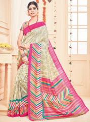 Cream Color Bhagalpuri Casual Party Sarees : Prinat Collection  YF-51902