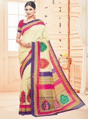 Cream Color Bhagalpuri Casual Party Sarees : Prinat Collection  YF-51904