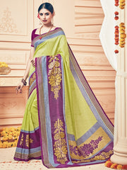 Parrot Green Color Bhagalpuri Casual Party Sarees : Prinat Collection  YF-51905