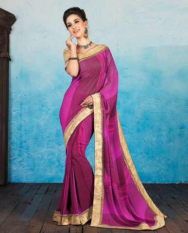 Dark Pink Color Georgette Casual Party Sarees : Ashiya Collection  YF-44006