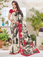 Off White & Black Color Bhagalpuri Festival & Party Wear Sarees : Palkin Collection  YF-55540