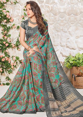 Rama Green & Grey Color Bhagalpuri Festival & Party Wear Sarees : Palkin Collection  YF-55544