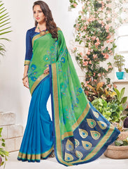 Green & Blue Color Bhagalpuri Festival & Party Wear Sarees : Palkin Collection  YF-55548