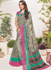 Cream ,Black & Pink Color Bhagalpuri Festival & Party Wear Sarees : Palkin Collection  YF-55549