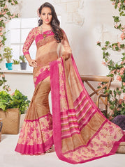 Light Coffee & Pink Color Bhagalpuri Festival & Party Wear Sarees : Palkin Collection  YF-55550