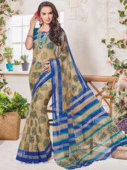 Beige & Blue Color Bhagalpuri Festival & Party Wear Sarees : Palkin Collection  YF-55551