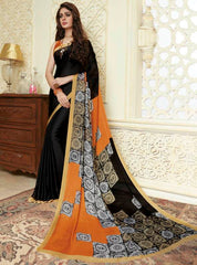 Black & Orange Color Crepe Party Wear Sarees : Amrusha Collection  YF-55254
