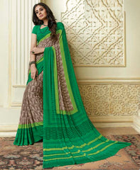 Brown & Green Color Crepe Party Wear Sarees : Amrusha Collection  YF-55255