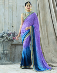 Blue & Purple Color Jacquard Crepe Designer Party Wear Sarees : Charchita Collection  YF-52105