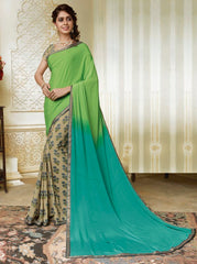 Beige & Green Color Crepe Party Wear Sarees : Amrusha Collection  YF-55269