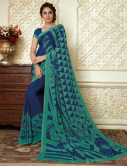 Blue & Green Color Crepe Party Wear Sarees : Amrusha Collection  YF-55272