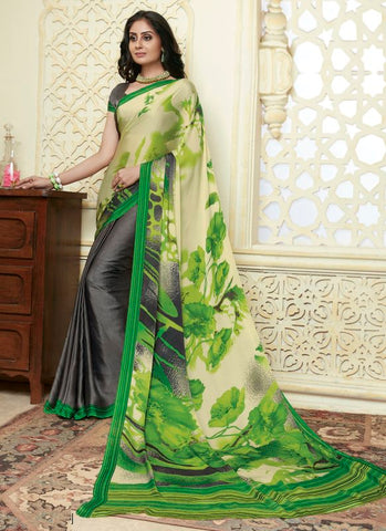Black & Green Color Crepe Party Wear Sarees : Amrusha Collection  YF-55273