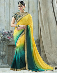 Green & Yellow Color Jacquard Crepe Designer Party Wear Sarees : Charchita Collection  YF-52106