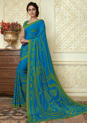 Blue & Green Color Crepe Party Wear Sarees : Amrusha Collection  YF-55281