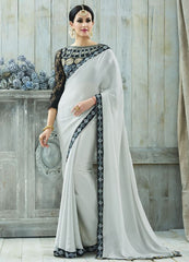 Ash Grey Color Wrinkle Chiffon Designer Party Wear Sarees : Charchita Collection  YF-52107