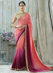 Pink & Magenta Color Jacquard Crepe Designer Party Wear Sarees : Charchita Collection  YF-52108