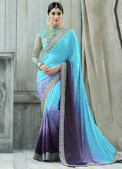 Firozi & Purple Color Jacquard Crepe Designer Party Wear Sarees : Charchita Collection  YF-52109