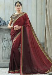 Red & Maroon Color Jacquard Crepe Designer Party Wear Sarees : Charchita Collection  YF-52110